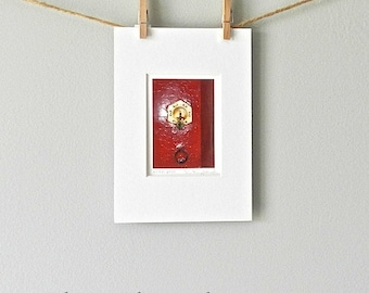 Red Door Print,Asian Decor Miniature Art,Gold & Red Door Photography,Door Detail Oxblood Red Chinese Art, Stocking Stuffer Matted Asian Art