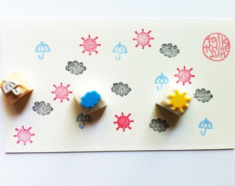 weather hand carved rubber stamp set. sun umbrella cloud stamp. scrapbooking. diy diary planners. snail mails. set of 3. small