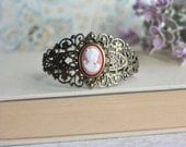 Peach Cameo Vintage Inspired Adjustable Cuff Bracelet. Bridesmaid Gifts. Gifts for Her. Gifts for Friends. Victorian Inspired.
