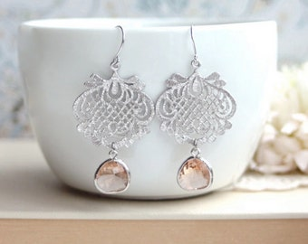 Peach Glass Earrings. Rhodium Plated Lace Scroll Filigree Earring. Peach Wedding. Bridal. Wedding. Bridesmaids Gift. Sister. Gifts for Her.