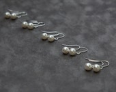 Bridesmaid Jewelry, Gift Set of 5, Custom Color Bridal Party Jewelry, Swarovski Pearl Bridesmaid Earrings