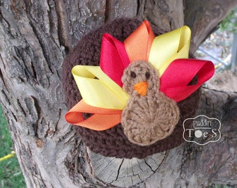 Baby Turkey Hat, Ribbon Turkey Baby Hat, Thanksgiving Baby Hat, Crochet Turkey Hat, Fall Baby Hat, Fall Photo Prop, Crochet Baby Hat