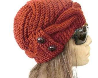 Women  Knit  Hat ,  Cloche Hat ,  Winter Hat , Gift for her   Rust orange Hat Winter Accessories Winter  Fashion Women Fashion Accessories