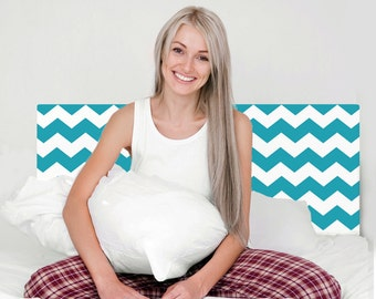Wall Decal Turquoise and White Chevron Headboard Removable and Reusable