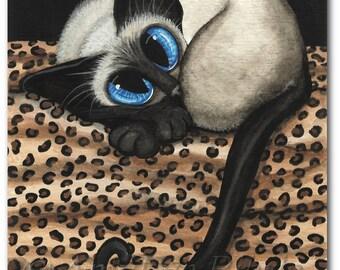 Siamese Cat Leopard Cat Nap - Fine Art Prints by Bihrle ck397