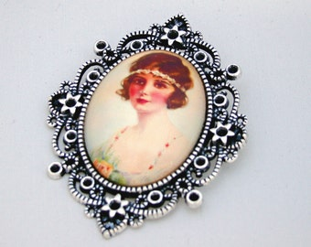 Daisy Flapper 1920s Cameo Brooch Pendant