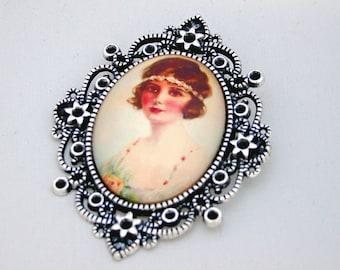 Daisy Flapper 1920s Cameo Brooch Pendant
