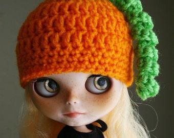 Pumpkin Sprout - Crochet Hat for Blythe - Halloween Fall Helmet
