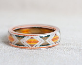 Resin Bangle Geometric Tribal Pattern Vintage french ribbon Bracelet Cuff orange olive green triangle modern western minimalist