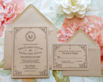 Vintage wedding invitations monograms diy by merrymint for A storybook ending bridal prom salon