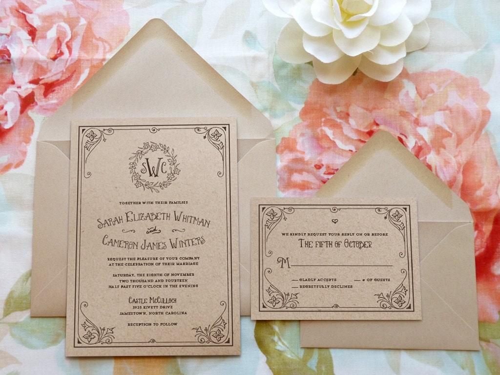 Storybook Wedding Invitation: Storybook Ending Kraft Monogram Garden Printable Wedding
