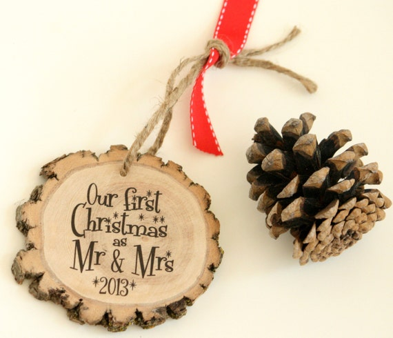 Gifts For Newly Weds: Newlyweds First Christmas Holiday Ornament By LittleWeeShop