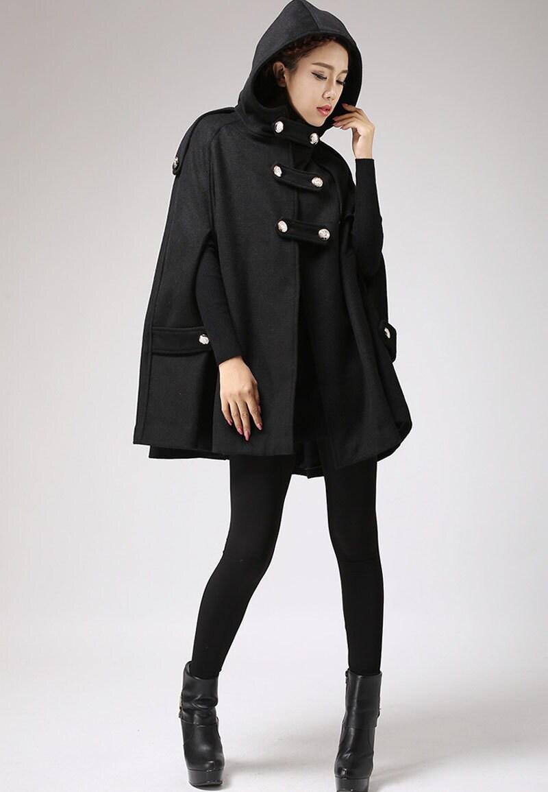 Black cape wool cape plus size cape wool cloak womens cape