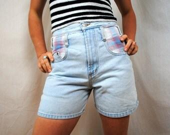 Vintage 80s Denim Plaid Steel Shorts