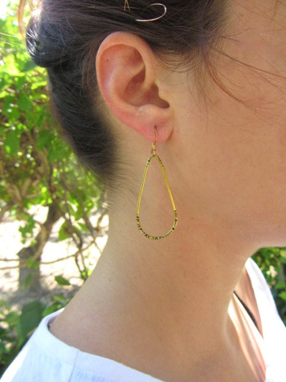 Large gold hoop earrings, Hammered drop dangle brass earrings.