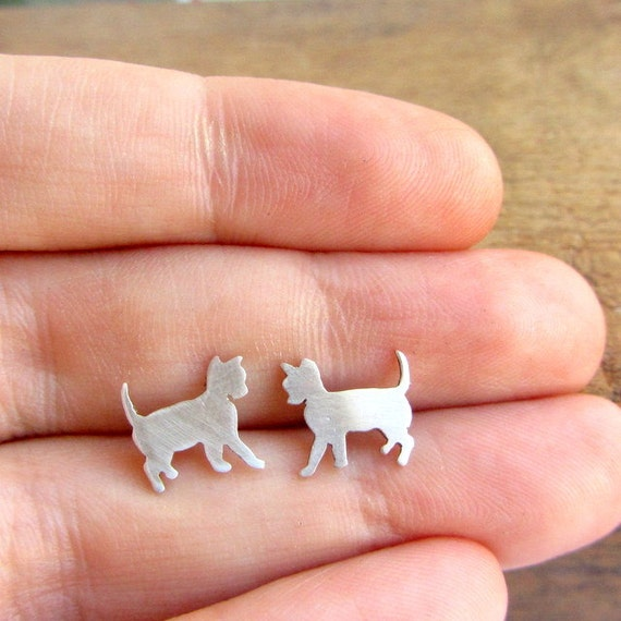 Cat post earrings, small animal sterling silver studs, halloween jewelry.