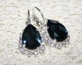 Blue Swarovski® Earrings, Dark Blue Montana Rhinestone Teardrop Strass Silver Earrings Statement, Classic sparkling Bridal Wedding Jewelry
