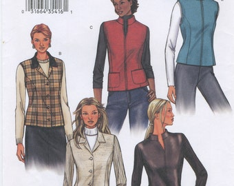 Lined Jacket and Vest Sewing Pattern Size 8, 10, 12 Butterick 3572, Princess Seams, Collar Variations,  Uncut