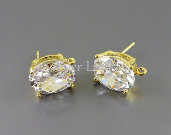 2 Simulated diamond clear Cubic Zirconia CZ oval earrings, crystal earrings, wedding / bridal jewelry 1913G-CL (bright gold, 2 pieces)