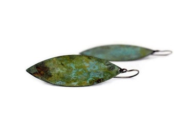 Leaf Earrings, Green Leaf Earrings, Verdigris Patina Leaves, leaf Jewelry, Patina Brass Jewelry