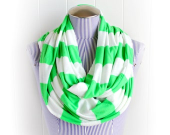 Bright Chartreuse Green and White Striped Infinity Scarf, Neon Lime Green Wide Stripe Jersey Knit