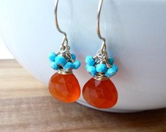 Orange Carnelian Earrings, Turquoise Cluster Earrings, 14k Gold Filled Earrings, On Sale