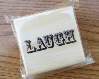 Victorian LAUGH Rubber Stamp