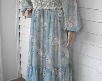 70s Blue Corset Prairie Dress Vintage Rags by Kressandra Boho Lace Gunne Sax Style S M 13
