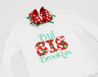 Big Sister Shirt -Christmas- Personalized Big/Middle/Little Sis Shirt  and Hairbow