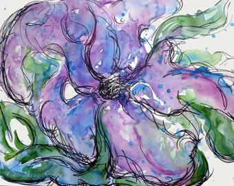 Purple blue watercolor flower ORIGINAL 9x12  WAS 45 now 35