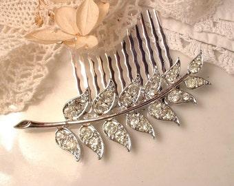 Vintage Bridal Leaf Hairpiece or Sash Brooch, Art Deco Clear Pave Rhinestone Silver Fern Brooch or Hair Comb, Woodland Wedding Grecian 1920s
