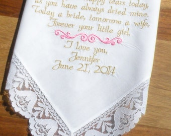 Embroidered Wedding Handkerchief  Mother of the Bride to dry your happy tears Lacy Wedding Bell Hanky By Canyon Embroidery