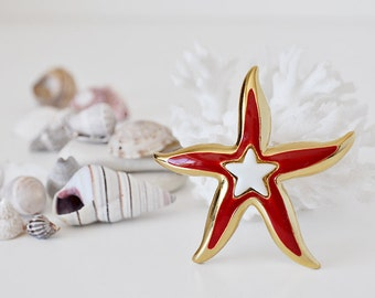Vintage Enamel Starfish Brooch