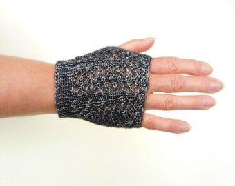 Short Fingerless Gloves, Lace Gloves, Metallic Black Silver Fingerless Gloves, Hand Knitted Gloves, Chic Holiday Fashion Gift for Teen Girls