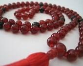 Mala - Hand Knotted Carnelian and Jade/Fuschite Meditation Mala, 108 Beads