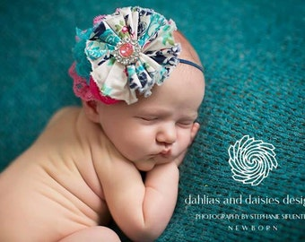 Kismet-  rosette, ruffle and chiffon flower headband in navy hot pink and teal headband