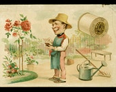 1800s Roses Gardener Victorian Trade Card J & P Coats Best Six Cord Thread