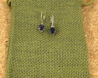 Faceted Blue Iolite Dangle Earrings