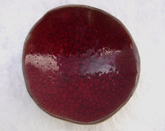 Red Raku Ceramic Mini Shell Bowl