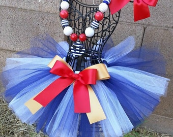 LITTLE SAILOR- Navy Blue and White tutu with hairbow-0-3months, 3-6months, 6-12months, 12-24months