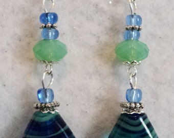 Dangle Earrings, Lampwork Earrings, Blue and Green, Summer Earrings, Summer Jewelry, Cottage Chic Earrings - SEASWEPT
