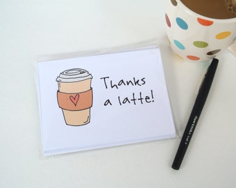 Thanks A Latte Thank You Note Cards