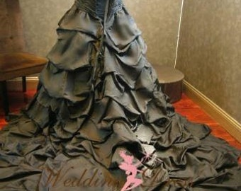 Black Wedding Dress with Straps Custom Made to your Measurements