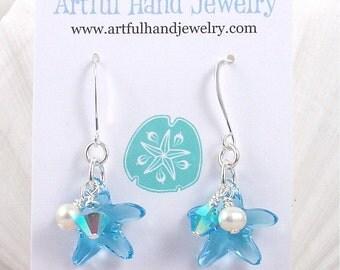 Coastal Colors Swarovski Starfish Earring Aquamarine and Pearl