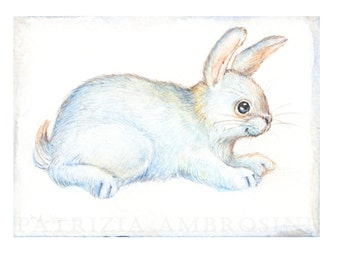 Original ACEO White bunny No.6  Original Painting- Watercolor- Card -collectible- fine art