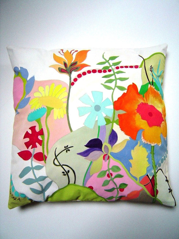 Floral abstract hand painted pillow 17x17 colorful abstract for Hand painted pillows