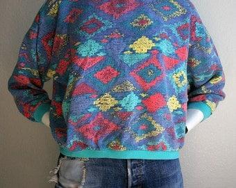 1980/90's Southwestern chevron patterned colorful pastels cropped oversized cotton long sleeved cotton sweatshirt - women's sz S/M