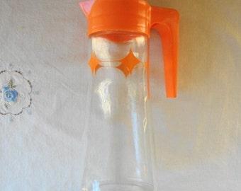 VINTAGE RETRO Glass Carafe Pitcher With Orange Diamond Pattern & Top