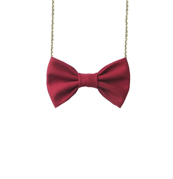 Wine Red - Bow Tie Necklace, Women Bowtie Accessory Dark Red Burgundy
