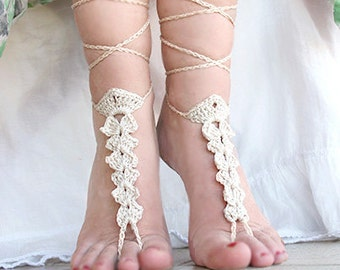 Beach wedding, Ivory Crochet Barefoot Sandals, Foot jewelry, Nude shoes, Sexy, Yoga, Anklet , Bellydance,  Beach Pool